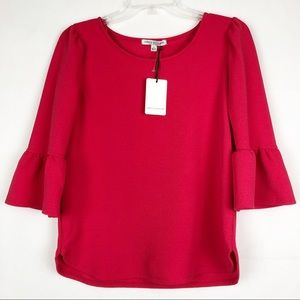 NWT Green Envolope | Bell Sleeve Bright Pink Top